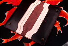 Handmade long wallet leather men red coffee wine vintage wallet for men
