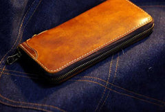 Handmade long wallet leather zip men brown vintage biker trucker wallet for men