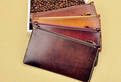 Handmade long wallet leather zip men brown vintage clutch wallet for men