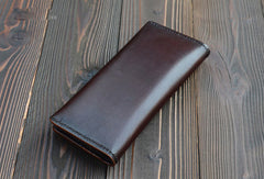 Handmade vintage dark brown black coffee leather long wallet purse clutch for men