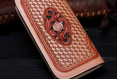 Handmade leather beige floral wallet leather zip women clutch Tooled Long wallet men