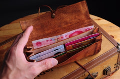Handmade men vintage rustic simple envelope Stitched leather long wallet Clutch for men