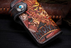 Handmade Long leather biker trucker Monkey King wallet leather chain men Brown Tooled wallet