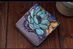 Handmade mens leather Tooled Small wallets carp lotus short wallet for men