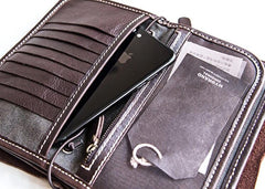 Handmade vintage long wallet leather mens zipper clutch wallet for men