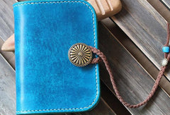 Handmade custom vintage purse leather wallet billfold small wallet blue women