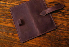 Handmade vintage purse leather wallet long phone wallet clutch wallet coffee brown men