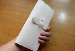 Handmade vintage purse leather wallet long phone wallet clutch wallet beige women