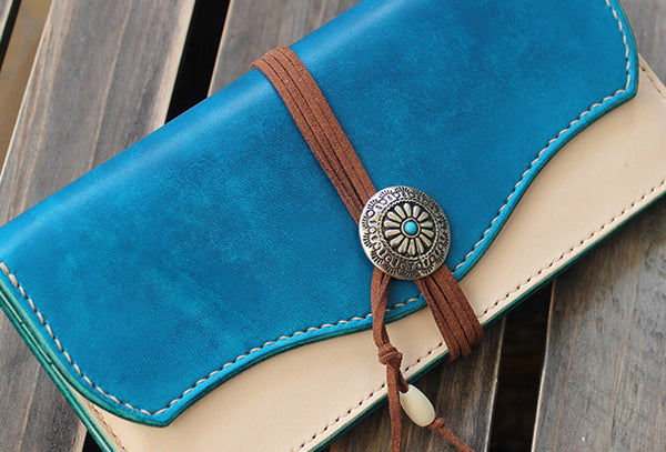 Handmade custom vintage purse leather wallet long phone wallet blue women