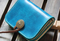Handmade custom vintage purse leather wallet short small wallet blue women