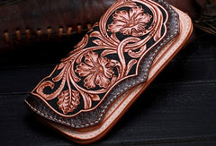 Handmade leather Beige Black floral wallet leather women men Long Wallet clutch Tooled wallet