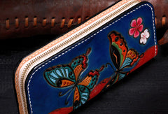 Handmade women leather blue butterfly wallet leather zip clutch Tooled wallet