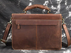 Leather Men Vintage Briefcase Laptop 15inch Handbags Shoulder Bags Work Bag For Men