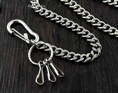 BADASS SILVER STAINLESS STEEL MENS Key Chain PANTS CHAIN WALLET CHAIN BIKER WALLET CHAIN FOR MEN