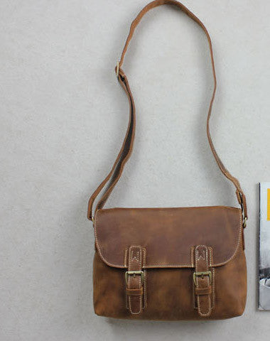 Handmade leather men Briefcase messenger Brown  shoulder bag vintage bag for him