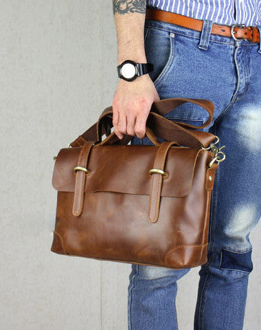 Handmade leather men Briefcase messenger brown coffee shoulder bag vintage bag