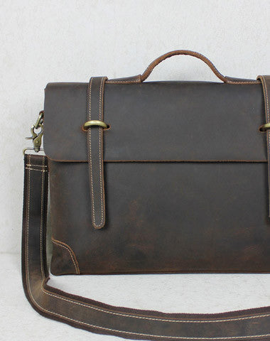 Handmade leather men Briefcase messenger coffee brown shoulder laptop 14 inch bag vintage bag