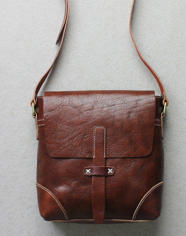 Handmade leather Briefcases men messenger Coffee small shoulder bag vintage bag for him