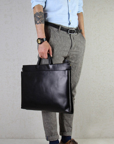 Slim black leather men Briefcase black shoulder laptop Briefcase Business Briefcase Work bag
