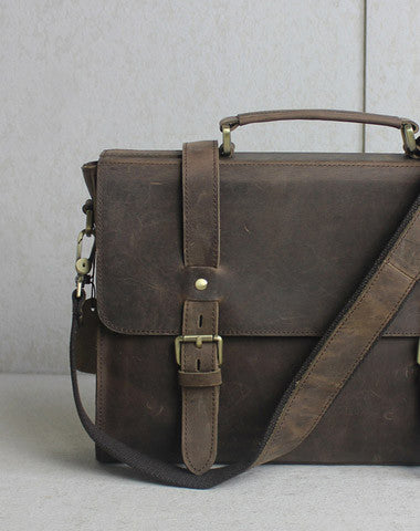 Handmade leather men Briefcase messenger coffee shoulder bag vintage bag