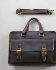 Handmade leather men Briefcase messenger dark coffee shoulder bag vintage bag