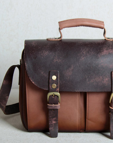 Handmade leather men Briefcase messenger Coffee Brown shoulder bag vintage bag for him