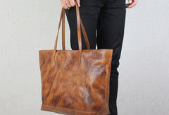 Handmade leather tote modern vintage leather large brown tan tote bag shoulder bag for women