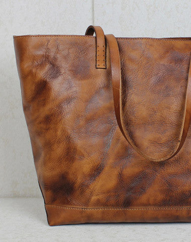 0013fc2809 Handmade leather tote modern vintage leather large brown tan tote bag  shoulder bag for women