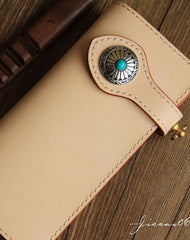 Handmade beige leather biker wallet chain bifold long wallet purse clutch for men