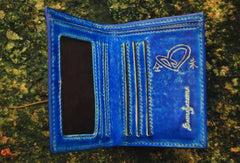 Handcraft vintage distress blue red leather hand dyed small short wallet for lovers