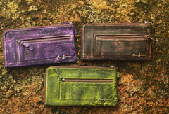 Handcraft vintage distress custom leather hand dyed purse clutch for women/men