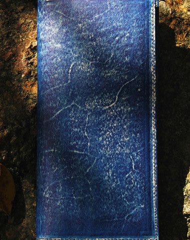 Handcraft vintage distress blue leather hand dyed long wallet for men/women