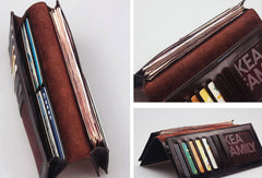 Handcraft vintage distress natural leather hand dyed long wallet for women