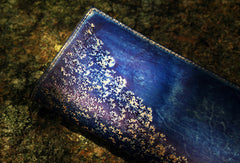 Handcraft vintage distress floral leather hand dyed long wallet for women girl lady