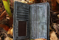 Handcraft vintage distress raining leather hand dyed long wallet for men/women