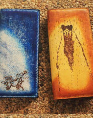 Handcraft vintage distress lovers leather hand dyed long wallet for women
