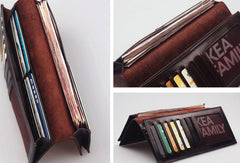 Handcraft vintage distress chinese poem leather hand dyed long wallet for men