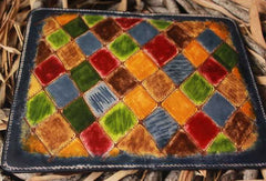 Handcraft vintage distress mosaic leather hand dyed long wallet for women/men