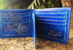 Handcraft vintage distress blue bird leather hand dyed short wallet for women