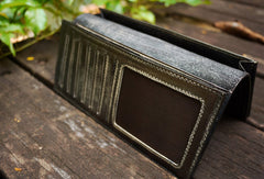 Handcraft vintage distress magic leather hand dyed long wallet for men/women