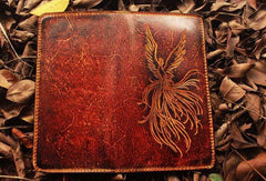 Handcraft vintage distress phoenix leather hand dyed long wallet for men/women