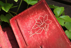 Handcraft vintage distress floral leather hand dyed long wallet for women