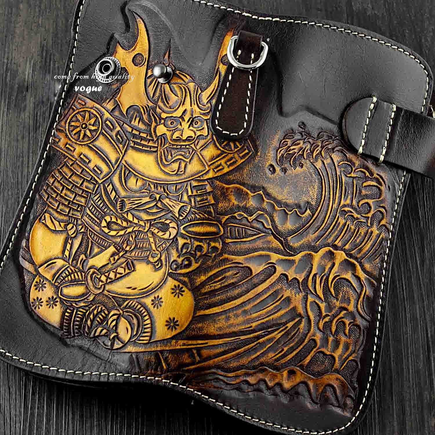 Japanese Ghost Tooled Leather Men's Biker Wallet Chain Wallet Long Wallet with Chain For Men