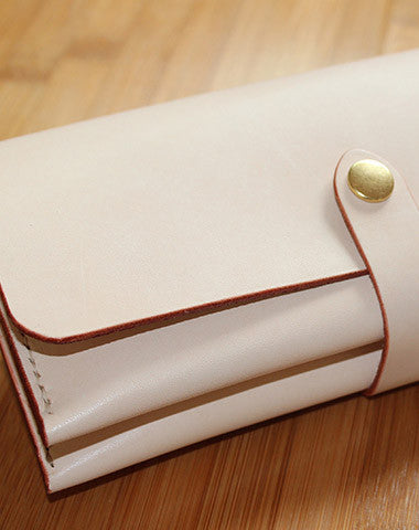 Handmade custom vintage purse leather wallet long phone wallet beige women