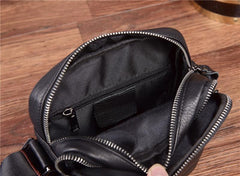 Black Leather Mens Tablet Messenger Bag Small Side Bag Black Shoulder Bag For Men