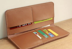 Handmade vintage leather clutch bag long wallet multi ID card holders slots for men