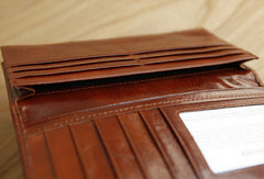 Handmade vintage modern leather clutch bag long wallet ID card holders slots for men