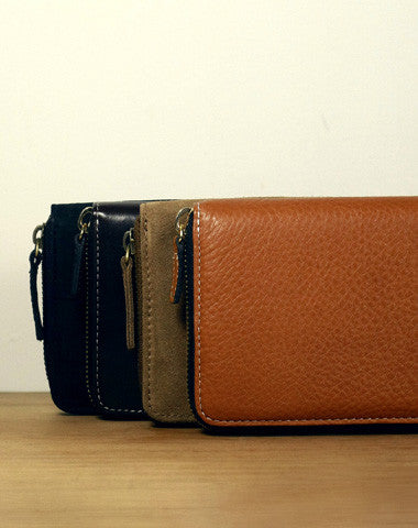 Handmade vintage zip leather clutch iphone bag long wallet ID card holders slots for men