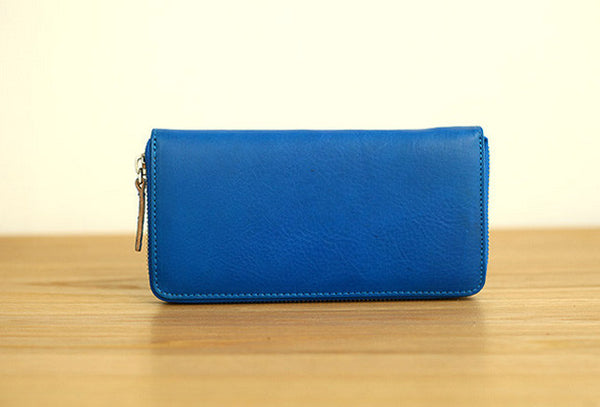 Handmade vintage blue zip leather clutch bag long wallet multi ID card holders for women