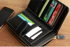 Handmade vintage leather long clutch Wallet zipper long wallet for men